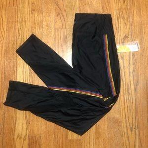 Black leggings with rainbow stripe